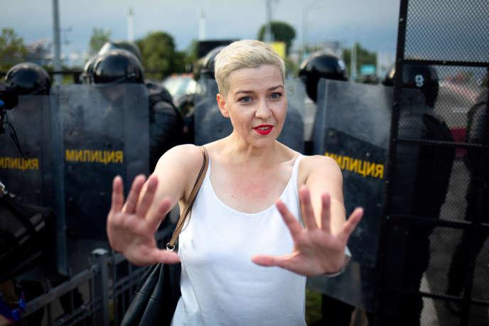 L'adversaire Maria Kolesnikova lors d'une manifestation à Minsk le 30 août.