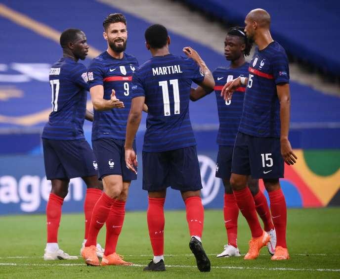 L'attaquant Olivier Giroud et ses coéquipiers lors du match de la Ligue des nations de l'UEFA entre la France et la Croatie, le 8septembre2020 au Stade de France, à Saint-Denis.