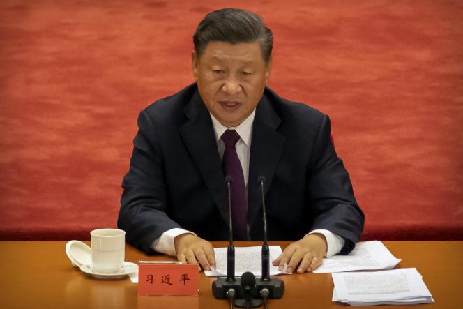 Le président chinois Xi Jinping lors de la cérémonie pour célébrer la «victoire» sur le Covid-19, au Grand Palais du peuple, à Pékin, le 8 septembre.