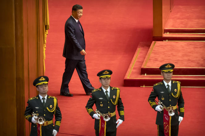 Le président chinois Xi Jinping au Palais de l'assemblée du peuple, à Pékin, mardi 8 septembre.