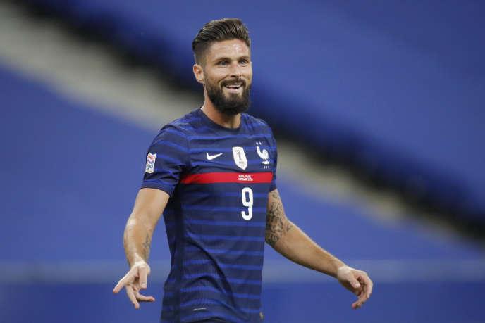 L'attaquant Olivier Giroud (ici contre la Croatie, le 8septembre, à Saint-Denis), fêtera contre l'Ukraine sa centième sélection.