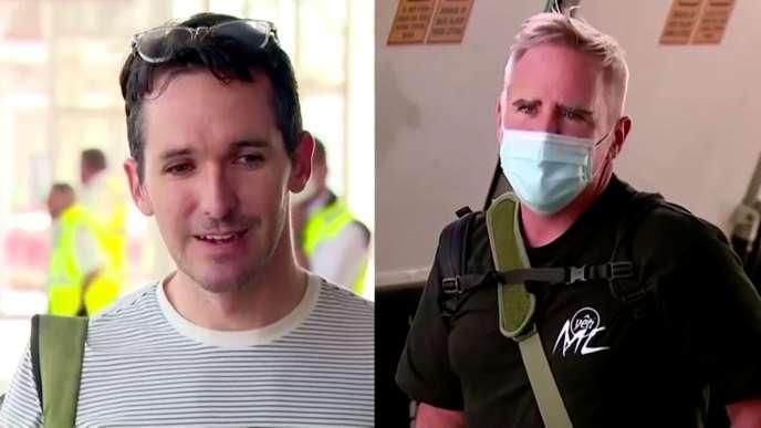 Une séquence d'ABC lors de l'arrivée deBill Birtles et Michael Smith à Sydney, le 8 septembre 2020. Craignant d'être arrêtés, les deux journalistes australiens, correspondants à Pékin, ont préféré fuir la Chine.