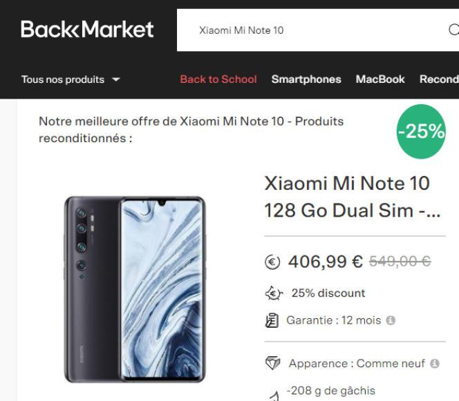 Neuf, ce smartphone ne coûte plus que 420 à 500 euros selon les marchands. Son tarif reconditionné n'est pas très intéressant, malgré la trompeuse étiquette -25 % affichée sur le site de BackMarket.