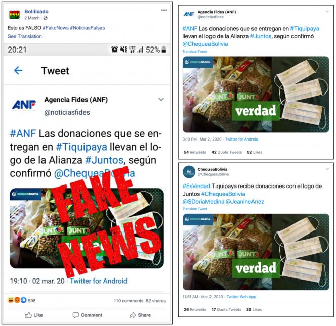 Exemple de message trompeur diffusé en Bolivie.