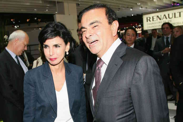 PARIS - SEPTEMBER 30: Rachida Dati and Carlos Ghosn attend the Renault presentation of the Cannes Film Festival Official Car 'Latitude' during the 2010 Paris motor show at the Parc des Expositions Porte de Versailles on September 30, 2010 in Paris, France. (Photo by Julien M. Hekimian/Getty Images)