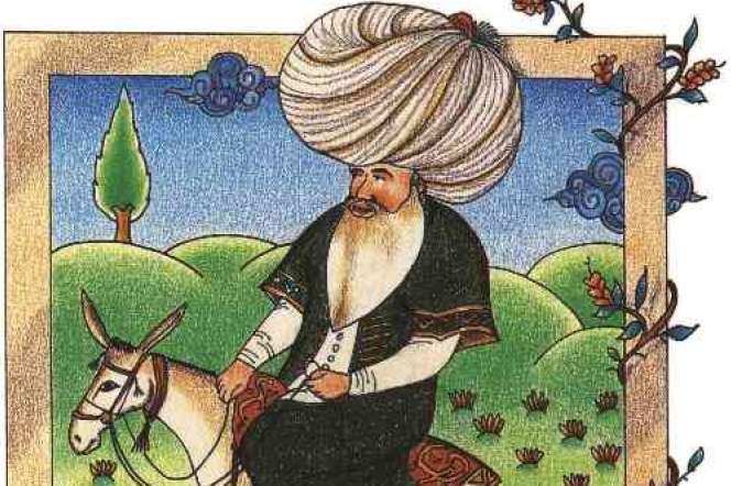 Nasreddine Hodja, miniature du XVIIesiècle, bibliothèque du palais de Topkapi, àIstanbul.