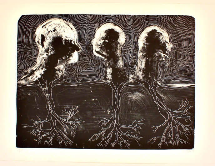 """""""Back to Illusion"""", by Barthélémy Toguo.  Lithograph, 2009 (70 cm x 100 cm).  Edition of 36 copies.  Starting price: 1,000 euros."""