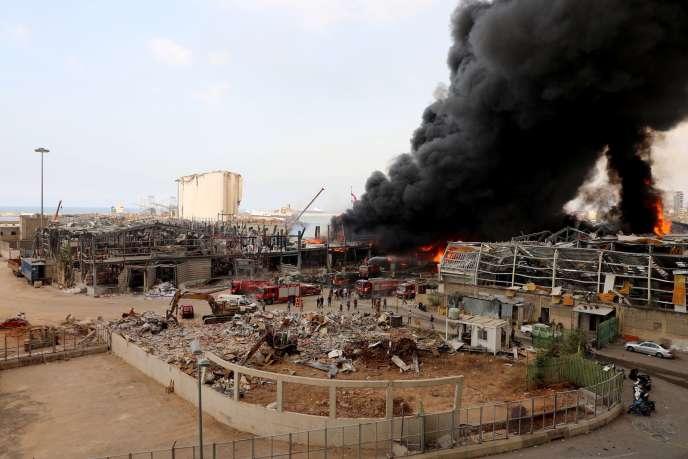 Vue du site où s'est déclaré l'incendie dans la zone portuaire de Beyrouth, le 10septembre.
