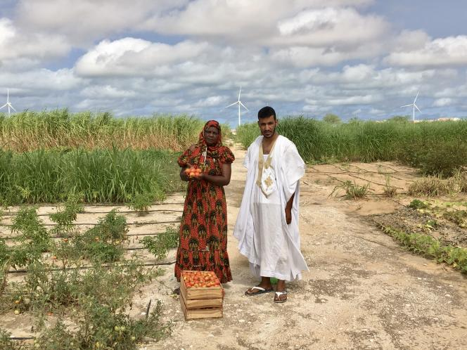 Fatimatou Mint Deya et Mohamed Mokhtar, deux élèves dela ferme pédagogique El Jenna, à la sortie de Nouakchott, en septembre.