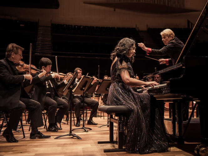 Répétition générale de l'Orchestre de Paris dirigé par Marin Alsop et accompagné de la pianiste Khatia Buniatishvili, à la Philharmonie de Paris, le 9 septembre 2020.