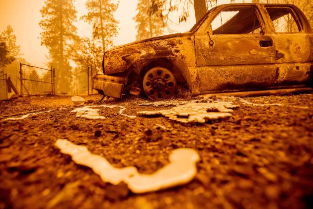 Le métal a fondu dans la chaleur des flammes dans le comté de Butte, en Californie, le 9 septembre.