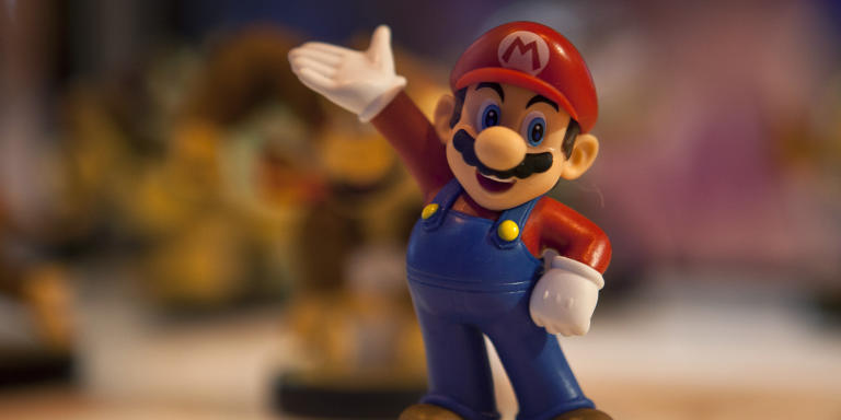 A figurine representing a Japanese multinational's famous video game character Mario Bros is on display during the Madrid Games Week 2015 in Madrid on October 2, 2015. The video game fair is open from October 1 to 4.