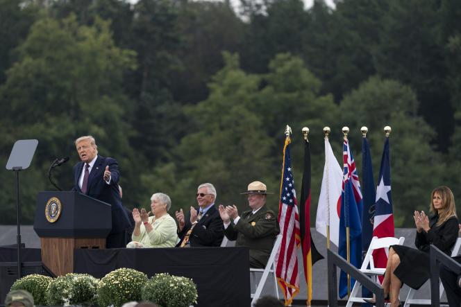 Le président républicain, Donald Trump, à Shanksville, en Pennsylvanie, le 11septembre.