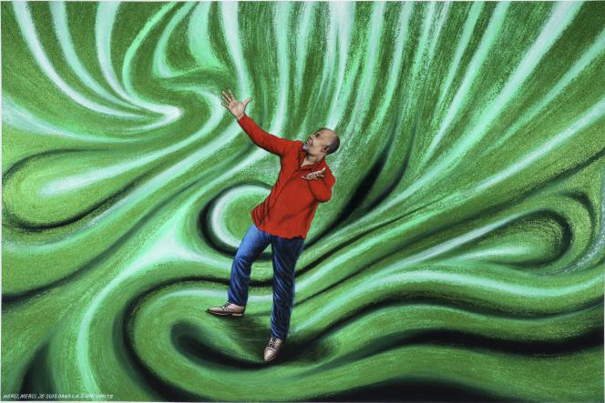 «Merci, merci je suis dans la zone verte», de Chéri Samba, 2020 (acrylique et paillettes sur toile, 135 x 200 cm).