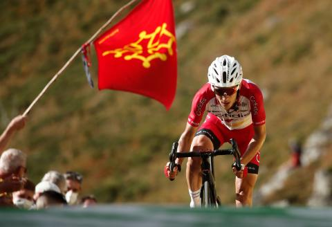 Team Cofidis rider France's Guillaume Martin arrives at the finish line of the 13th stage of the 107th edition of the Tour de France cycling race, 191 km between Chatel-Guyon and Puy Mary, on September 11, 2020. / AFP / POOL / BENOIT TESSIER