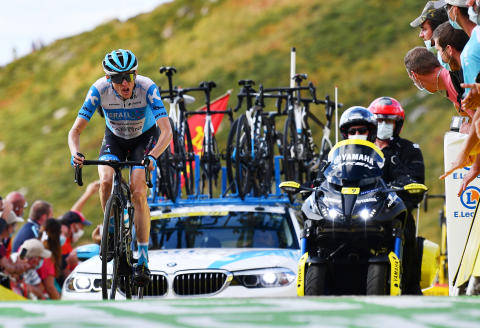 Cycling - Tour de France - Stage 13 - Chatel-Guyon to Puy Mary Cantal - France - September 11, 2020. Israel Start-Up Nation rider Daniel Martin of Ireland finishes. Pool via REUTERS/Stuart Franklin