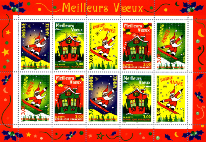 « Meilleurs voeux», timbres dessinés par Aurélie Baras (1998).