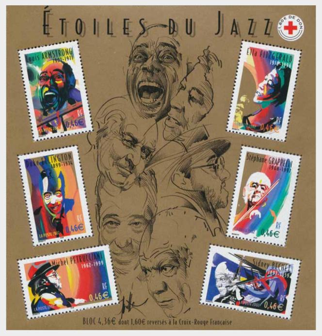 « Etoiles du jazz», par Raymond Moretti (mise en page de Jean-Paul Cousin, )bloc-feuillet paru en 2002.