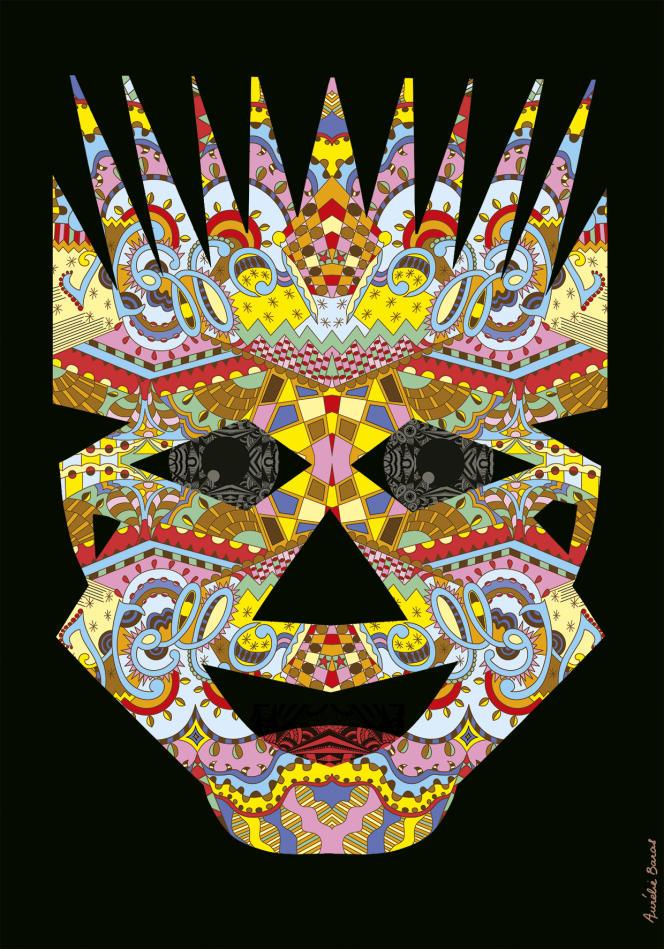 « Masque VI » (2020), décoration murale 35 x 50 cm. Impression numérique sur papier d'art.