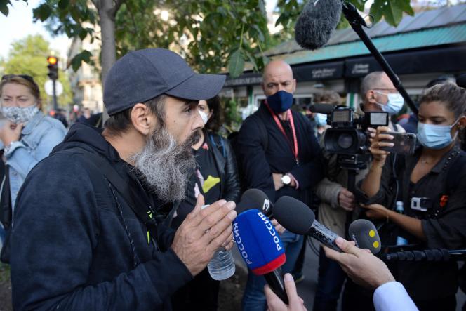 Une des figures du mouvement des « gilets jaunes », Jérôme Rodrigues, le 12septembre à Paris.