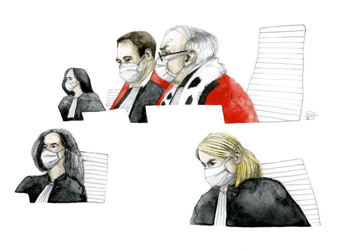 Dessin d'audience au procès des attentats de janvier 2015, le 11 septembre.