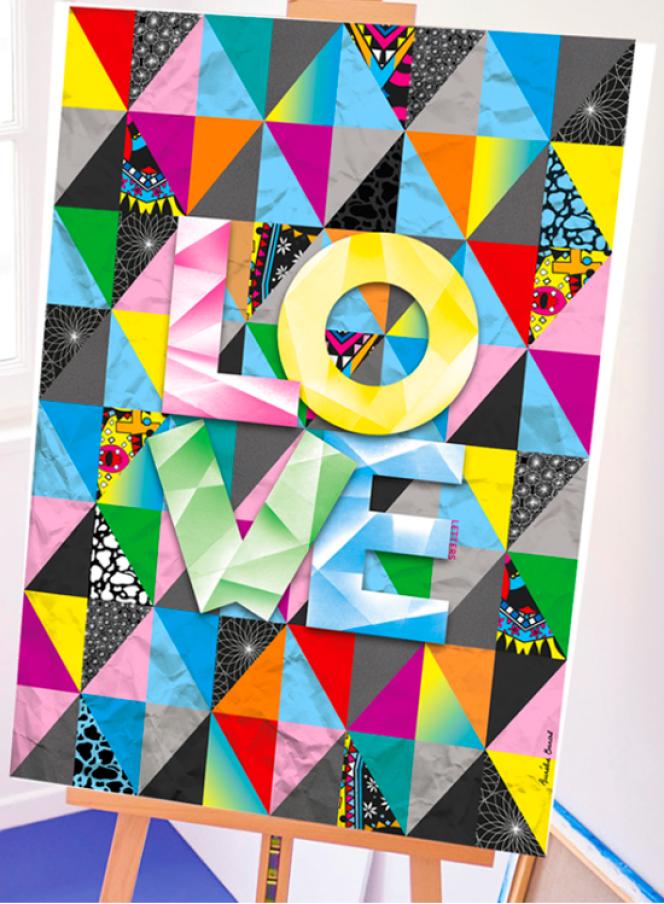 « Love Letters » (2017). Décoration murale 70 X 100 cm. Impression numérique sur papier d'art. Photo : Rodolphe Baras.