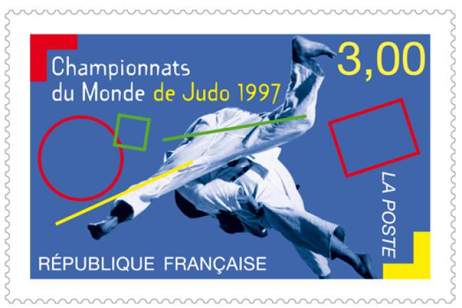 « Championnats du monde de judo1997», timbre créé par Aurélie Baras.