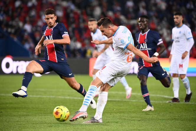 Le Marseillais Florian Thauvin, l'unique buteur du« clasico» entre le PSG et Marseille, dimanche 13 septembre.