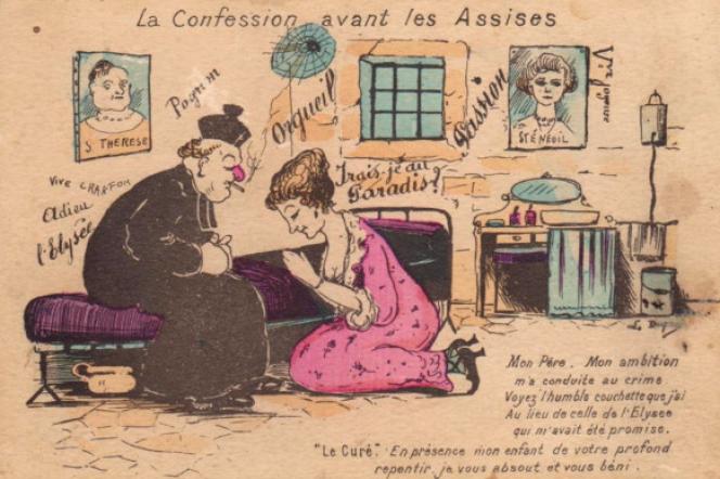 « La confession avant les assises d'Henriette Caillaux. Carte postale d'époque.