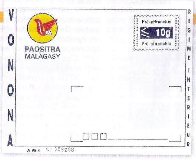 Entier postal (prêt à poster) malgache.