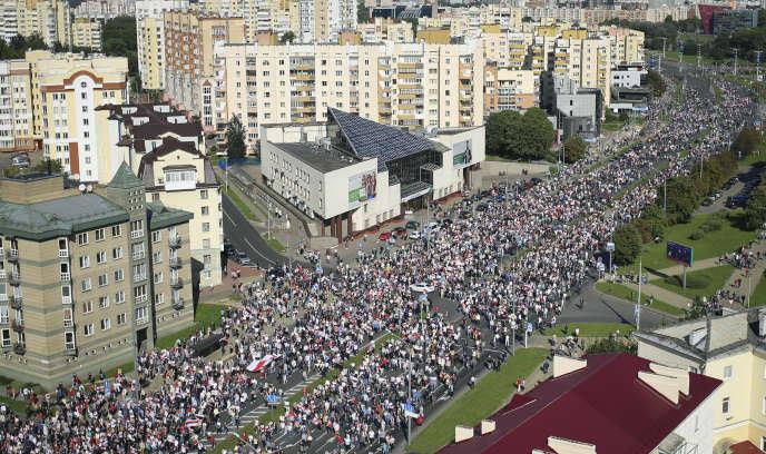 Manifestation à Minsk le 13 septembre.