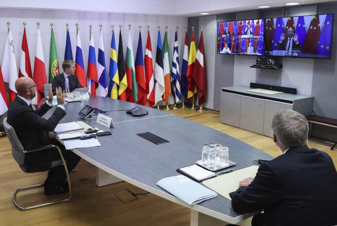 Le président du Conseil européen Charles Michel depuis Bruxelles lors de la visioconférence avec la Chine, lundi 14 septembre.