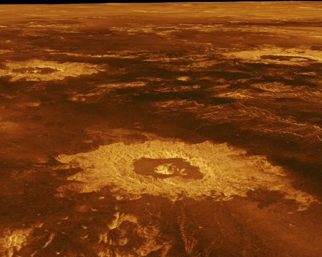 Une vue de la surface de Vénus, prise en 1991. La température peut y dépasser les 450°C et la pression 90 atmosphères.
