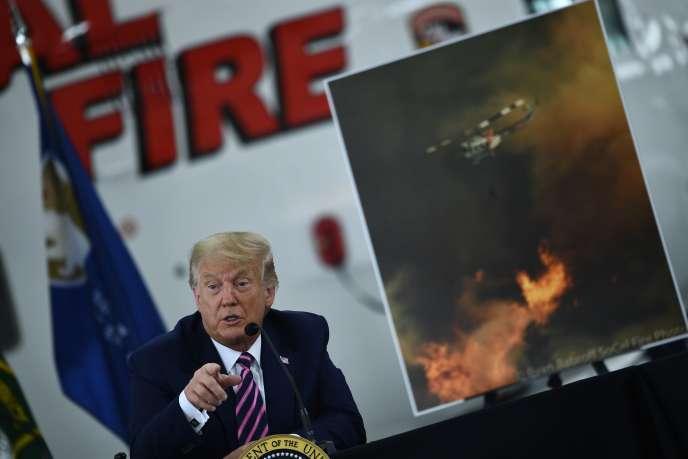Le président des Etats-Unis Donald Trump lors d'un briefing sur les incendies en Californie, à Sacramento, 14 septembre.