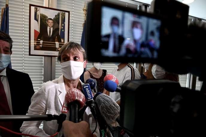 La préfère de Gironde, Fabienne Buccio, lors de la conférence de presse du lundi 14septembre, à Bordeaux.