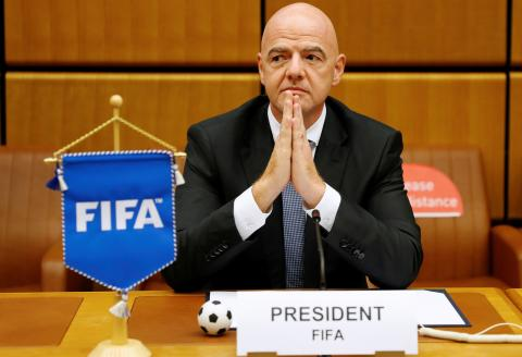 FIFA President Gianni Infantino waits for the start of a signing ceremony at the United Nations Office on Drugs and Crime (UNODC) headquarters in Vienna, Austria September 14, 2020. REUTERS/Leonhard Foeger