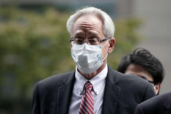 Greg Kelly, ex-bras droit de Carlos Ghosn chez Nissan, à son arrivée au tribunal de Tokyo, mardi 15 septembre.