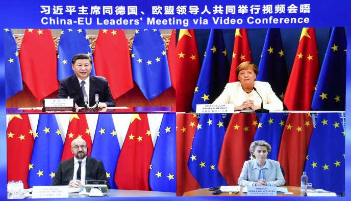 Rencontre à distance entre le président chinois Xi Jinping, la chancelière allemande Angela Merkel, le président du Conseil Charles Michel et la présidente de la Commission européenne Ursula von der Leyen, lundi 14 septembre.