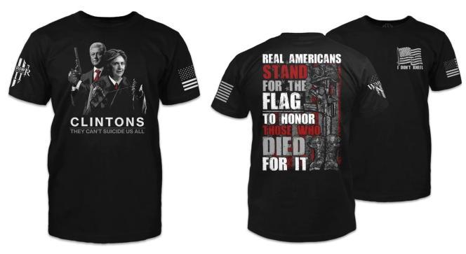 Exemples de t-shirts Warrior 12 : à gauche, le message sous-entend que le couple Clinton a fait assassiner le millionaire accusé de viols sur mineures Jeffrey Epstein ; à droite, un t-shirt accusant les athlètes qui s'agenouillent pendant l'hymne national de ne pas être de« vrais» Américains.