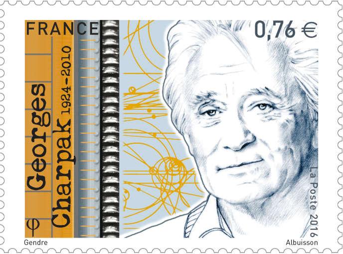 « Georges Charpak», timbre dessiné par Florence Gendre, gravé par Pierre Albuison et imprimé en taille-douce (2016).