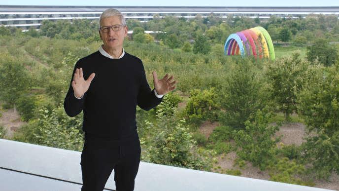 Le patron d'Apple, Tim Cook, à Cupertino (Californie), mardi 15 septembre 2020.