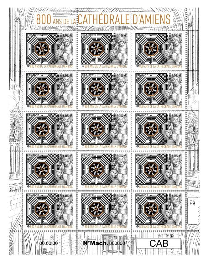 «800ans de la cathédrale d'Amiens», timbre créé par Florence Gendre, gravé par Line Filhon et imprimé en taille-douce (2020).