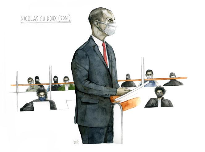 Le commissaire Nicolas Guidoux à la barre lors du procès des attentats de janvier 2015.