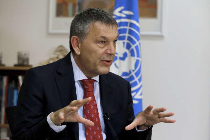 Le haut-commissaire de l'UNRWA, Philippe Lazzarini, le 16 septembre 2020, au siège de l'organisation, à Beyrouth.