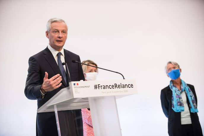 Le ministre de l'économie et des finances, Bruno Le Maire, lors de l'annonce du plan de relance, à Paris, le 3 septembre.