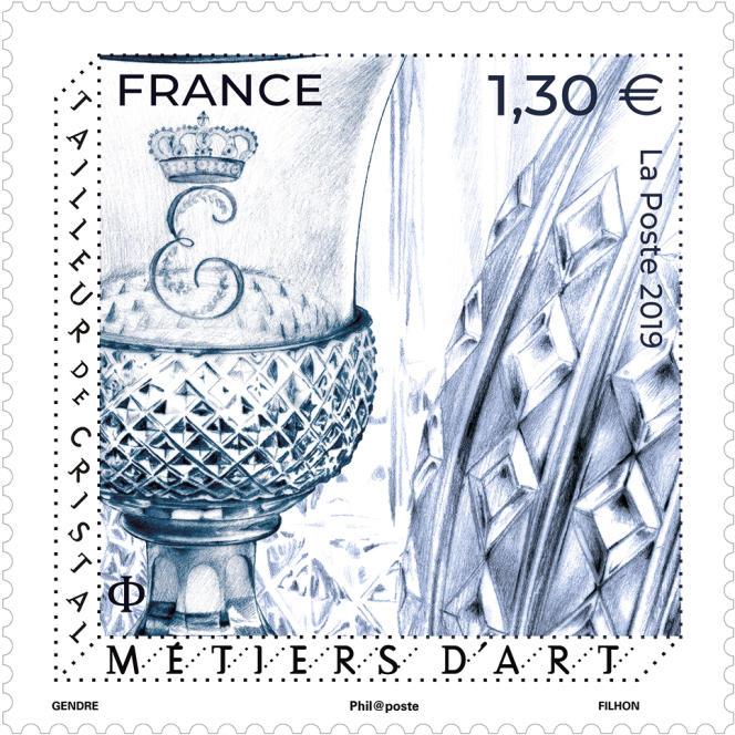 « Métiers d'art. Tailleurs de cristal», timbre dessiné par Florence Gendre, gravé par Line Filhon, imprimé en taille-douce (2019).