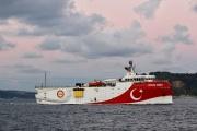 L'Oruç-Reis,le navire de recherche turc, dans le détroit du Bosphore, à Istanbul, en novembre 2018.