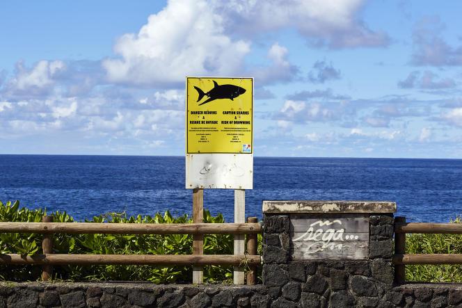 Un panneau danger indique un risque de requin, à Saint-Philippe, le 16 mai 2019.