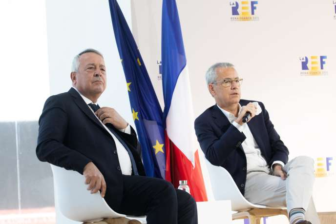 Antoine Frérot, PDG de Veolia, et Jean-Pierre Clamadieu, président d'Engie, à Paris, le 27 août 2020.