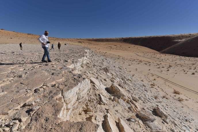 Une vue de l'ancien lacAlathar (Arabie saoudite) où seraient restés brièvement des hommes, il y a 120 000 ans.